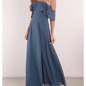 Tobi Slate Ruffle Maxi Dress